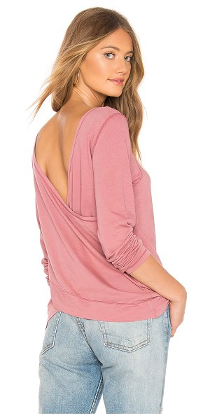 Bobi Light Weight Jersey Reversible Top in mauve - 100% cotton. Jersey fabric. Reversible. Surplice detail....