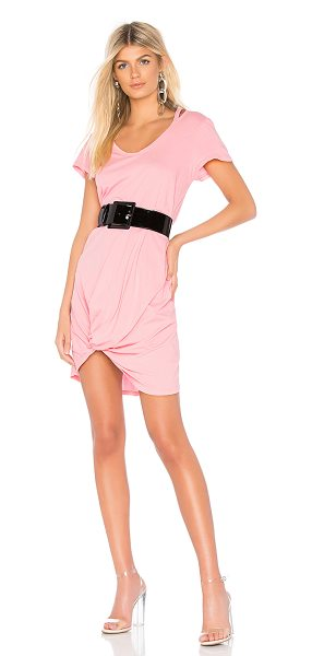 Bobi Lightweight Jersey Knotted Dress in pink - 100% cotton. Unlined. Neckline cut-outs. Front knot...