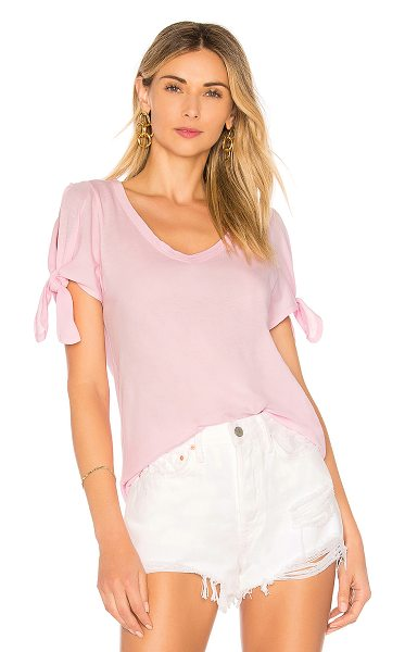 Bobi Lightweight Jersey Open Shoulder Tee in pink - 100% cotton. Jersey fabric. Shoulder cut-outs with tie...