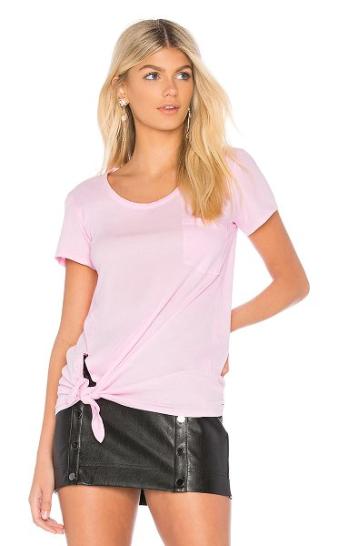 Bobi Lightweight Jersey Short Sleeve Tee in pink - 100% cotton. Breast pocket. Front knot detail....