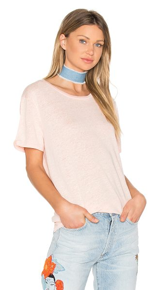 Bobi Linen Jersey Crew Neck Tee in sorbet - 80% linen 20% poly. Hand wash cold. Marled knit fabric....