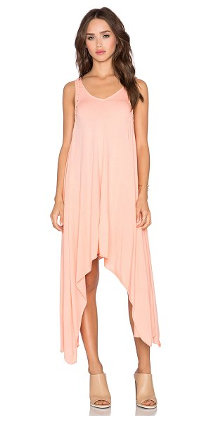 Bobi Pima cotton asymmetric dress in coral - 100% pima cotton. Unlined. Braided detail. Asymmetrical...