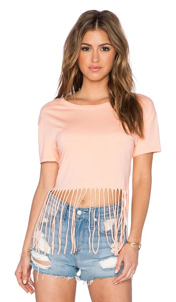 Bobi Pima cotton fringe tee in peach - 100% pima. Fringe trim. BOBI-WS1650. 515 12117. Bobi is...