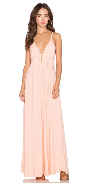 "Bobi Supreme jersey halter maxi dress in peach - 100% cotton. Bustline to hem measures approx 53"""" in..."