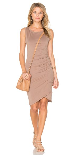 Bobi Supreme Jersey Ruched Bodycon Dress in beige - 100% cotton. Unlined. Side ruched detail. BOBI-WD1128. B...
