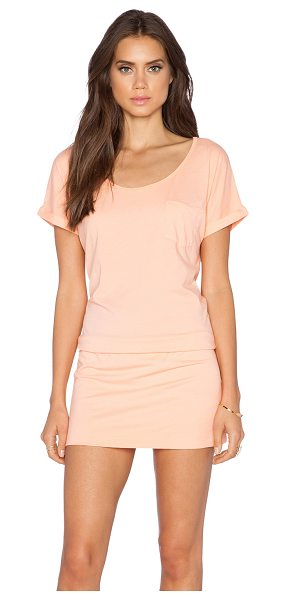 Bobi Supreme jersey short sleeve dress in peach - 100% cotton. Unlined. BOBI-WD869. 515 49206. Bobi is an...