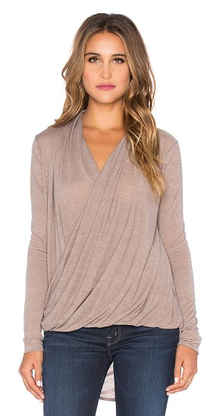 Bobi Tissue jersey wrap front blouse in taupe - 65% poly 35% rayon. Twist wrap front. Jersey knit...