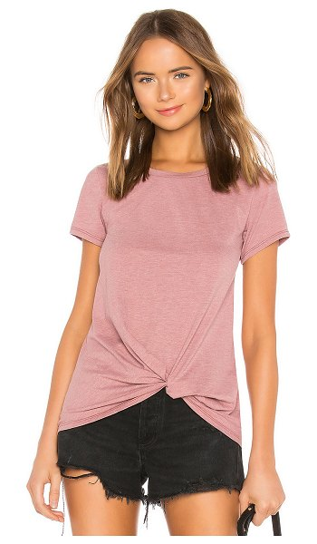 Bobi Vintage Jersey Knotted Tee in mauve - 65% poly 35% cotton. Heathered jersey. Front knot...