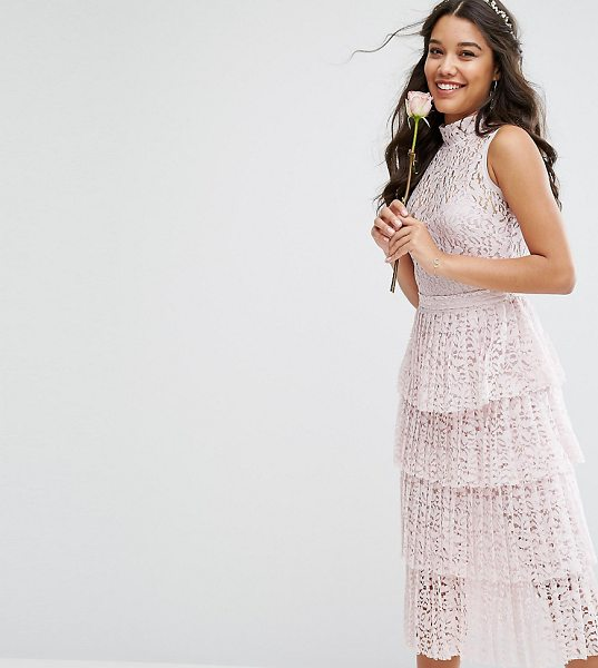"BODY FROCK Bodyfrock Pleated Lace Midi Dress With Tiers in pink - """"Dress by Body Frock, Made in Portugal, Color-matching..."