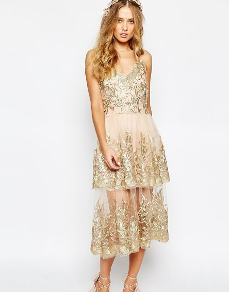 Body Frock Wedding begonia gold layered dress in gold - Midi dress by Body Frock, Made in Portugal, Sheer mesh,...