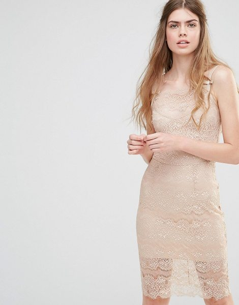 "Body Frock wedding paradise dress in nude - """"Dress by Body Frock, Semi-sheer lace, Mini cami..."