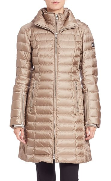 Bogner Lilia long puffer coat in taupemetallic - Lightweight puffer with laminate finishRemovable...