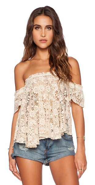 bohemian BONES Frisco lace penelope top in cream - Cotton blend. Hand wash cold. Elastic neckline. Sheer...