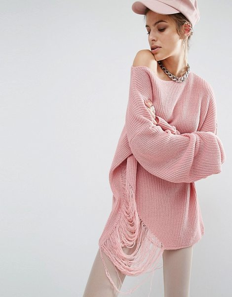 Bones Oversized Knit Sweater With Distressed Threading On Side in pink - Sweater by Bones, Chunky knit, Boat neckline, Dropped...