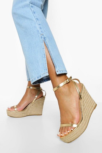Boohoo 2 Part Espadrille Wedge in gold