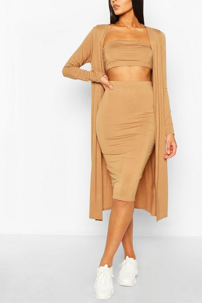 Boohoo 3 Piece Duster Bandeau & Skirt Two-Piece Set in camel