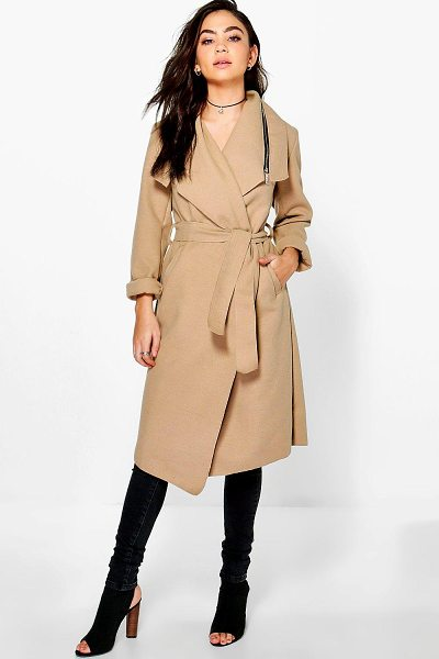 Boohoo Aaliyah Zip Shawl Collar Coat in camel - Wrap up in the latest coats and jackets and get...