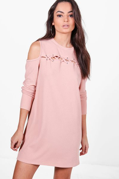 Boohoo Abbey Lace Up Cold Shoulder Rib Knit Dress in pink - Nail new season knitwear in the jumpers and cardigans...