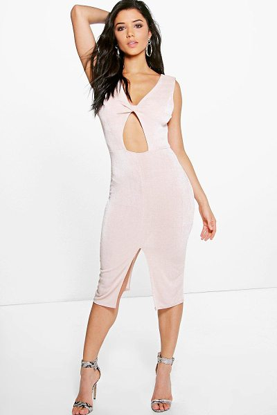 "Boohoo Abbey Textured Slinky Twist Front Midi Dress in nude - """"""""""""""Dresses are the most-wanted wardrobe item for..."