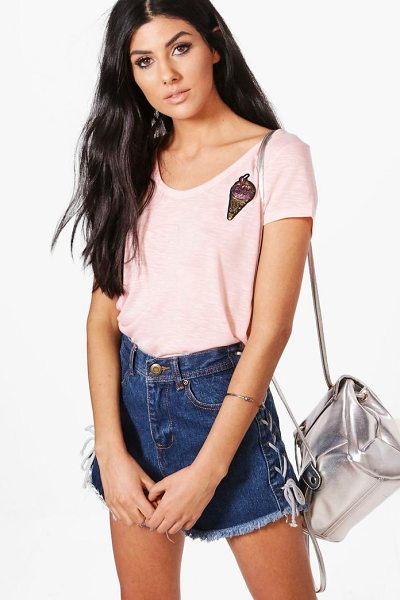 Boohoo Abbie Retro Sequin Badge Tee in pink - Steal the style top spot in a statement separate from...