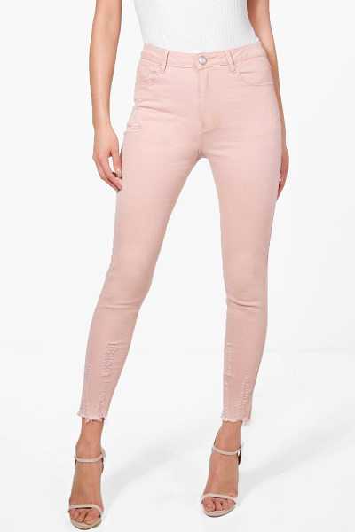 Boohoo Abby High Waist Destroyed Hem Skinny Jeans in antique rose - Jeans are the genius wear-with-anything wardrobe...