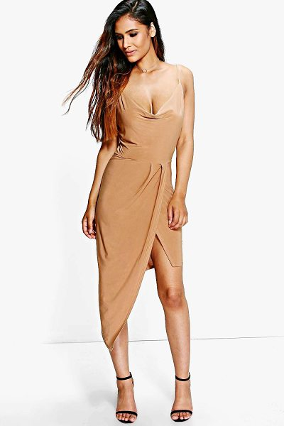 Boohoo Abi Slinky Cowl Wrap Detail Midi Dress in tan - Dresses are the most-wanted wardrobe item for...