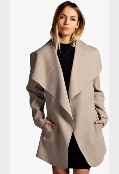 Boohoo Short Belted Waterfall Coat in camel