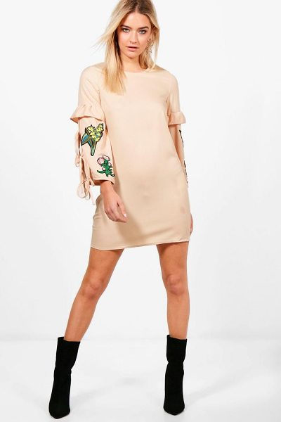 Boohoo Abigail Embroidered Shift Dress in sand - Dresses are the most-wanted wardrobe item for...
