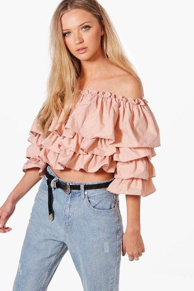 Boohoo Abigail Off The Shoulder Ruffle Top in dusky pink