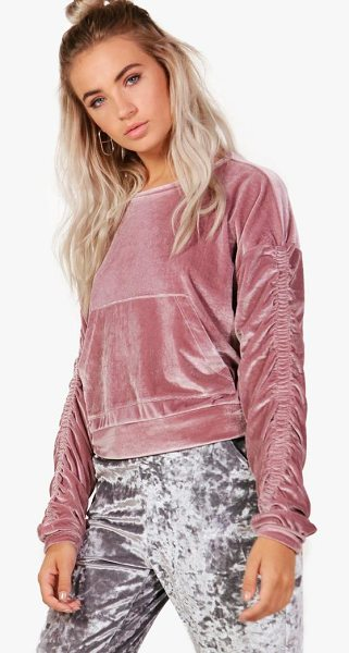 BOOHOO Abigail Velvet Ruched Sleeve Crop Sweat - Steal the style top spot in a statement separate from...