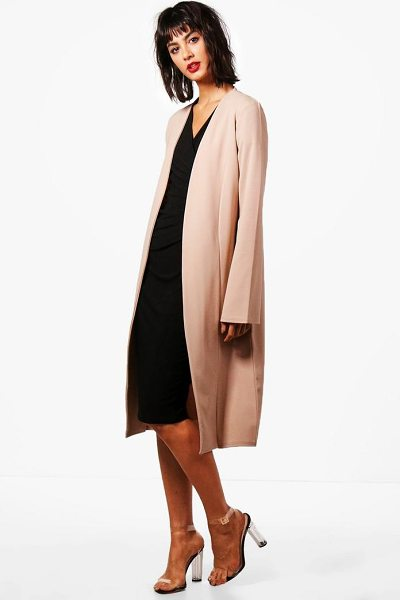 Boohoo Abigail Wide Sleeve Duster in stone - Wrap up in the latest coats and jackets and get...