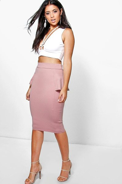 Boohoo Adaira Peplum Panelled Midi Skirt in rose - Party with your pins out in a statement evening...