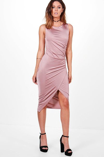 Boohoo Addie Slinky Ruched Detail Midi Dress in rose - Dresses are the most-wanted wardrobe item for...