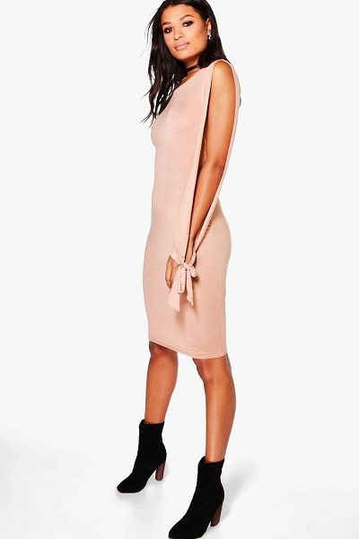 BOOHOO Addison Split Sleeved Tie Detail Midi Dress in camel - Dresses are the most-wanted wardrobe item for...