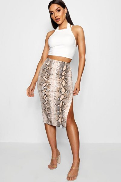Boohoo Thigh Split Snake Print Crepe Midi Skirt in sand - Skirts are the statement separate in every wardrobe This...