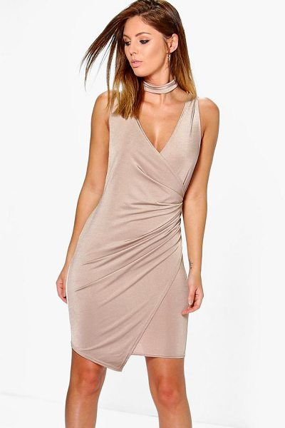 Boohoo Adria Drape Slinky Tie Neck Detail Bodycon Dress in sand - Dresses are the most-wanted wardrobe item for...