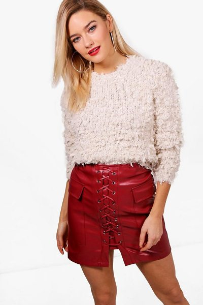 Boohoo Fluffy Popcorn Yarn Jumper in cream - Nail new season knitwear in the jumpers and cardigans...