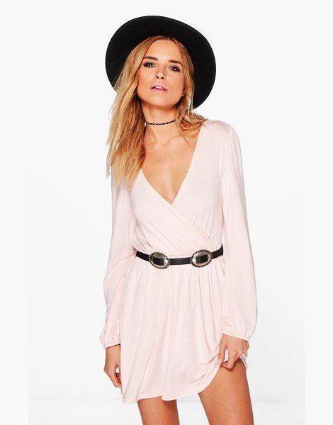 Boohoo Jersey Long Sleeve Wrap Dress in nude - Dresses are the most-wanted wardrobe item for...