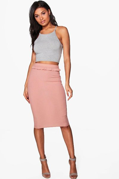 Boohoo Adrianna Ribbed Ruffle Detail Midi Skirt in sand - Skirts are the statement separate in every wardrobe This...