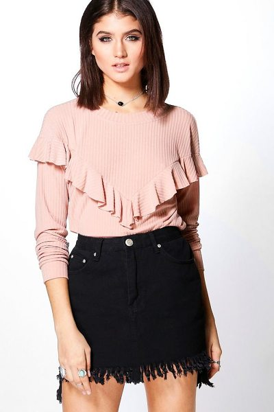 Boohoo Adrianna Soft Rib Frill Front Top in blush - Steal the style top spot in a statement separate from...