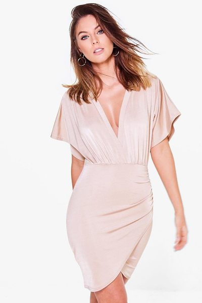Boohoo Afia Slinky Plunge Wrap Bodycon Dress in light sand - Dresses are the most-wanted wardrobe item for...