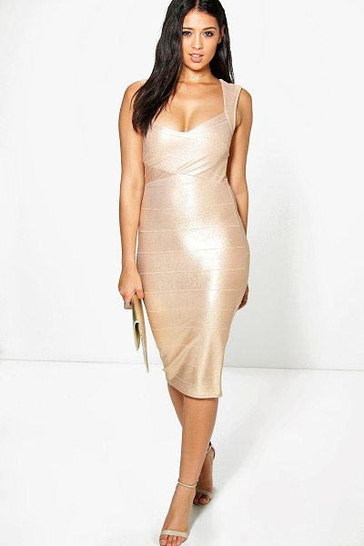Boohoo Agatha Metallic Detail Bandage Midi Dress in nude - Dresses are the most-wanted wardrobe item for...