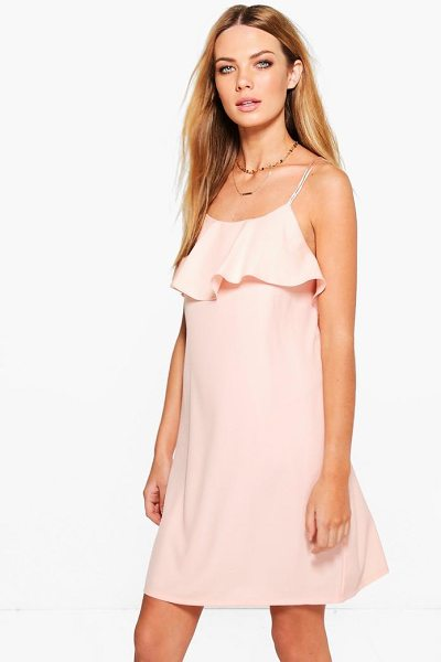 Boohoo Ahlai Woven Strappy Ruffle Frill Slip Dress in blush - Dresses are the most-wanted wardrobe item for...