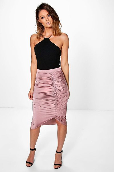Boohoo Ailani Rouched Side Slinky Midi Skirt in rose - Party with your pins out in a statement evening...