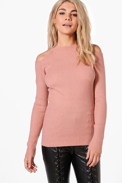 Boohoo Aimee Cold Shoulder Rib Jumper in pink - Nail new season knitwear in the jumpers and cardigans...