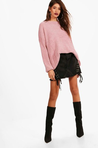 BOOHOO Aimee Oversized Chenille Tunic Jumper - Nail new season knitwear in the jumpers and cardigans...