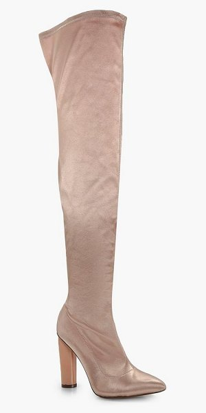 Boohoo Aimee Satin Thigh High Boots in champagne - We'll make sure your shoes keep you one stylish step...