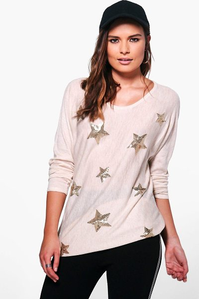 Boohoo Aimee Sequin Star Jumper in beige - Nail new season knitwear in the jumpers and cardigans...