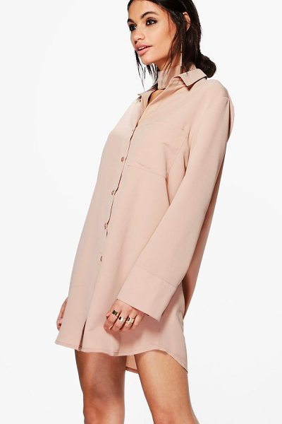 Boohoo Akhila Choker Shirt Dress in khaki - Dresses are the most-wanted wardrobe item for...