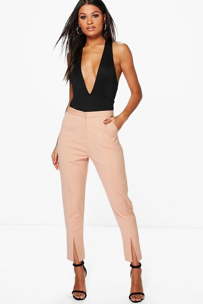 Boohoo Split Front Woven Tailored Trousers in sand - Trousers are a more sophisticated alternative to...